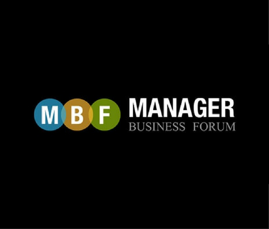 manager business forum con letras y fondo negro