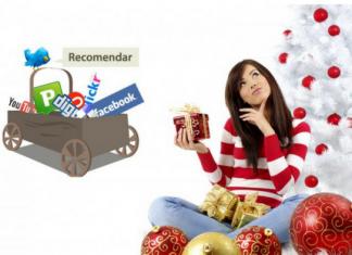 mujer con motivos navideños y carro de redes sociales