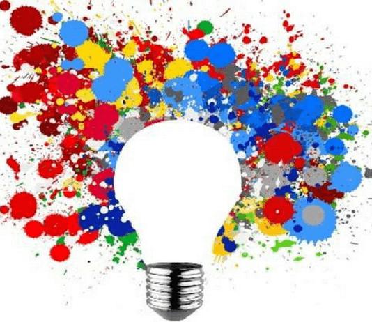 bombilla y colores creativos